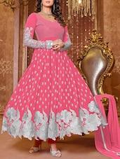 Pink Embroidered Georgette And Net Salwar Suit Set - Fabliva