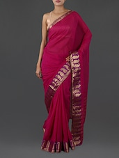 Pink Pure Cotton Saree With Paisley Border - INDI WARDROBE
