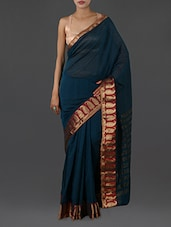 Teal Pure Cotton Saree With Paisley Border - INDI WARDROBE