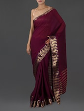 Wine Pure Cotton Saree With Paisley Border - INDI WARDROBE