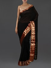 Black Pure Cotton Saree With Paisley Border - INDI WARDROBE