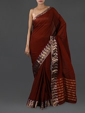 Brown Pure Cotton Saree With Paisley Border - INDI WARDROBE