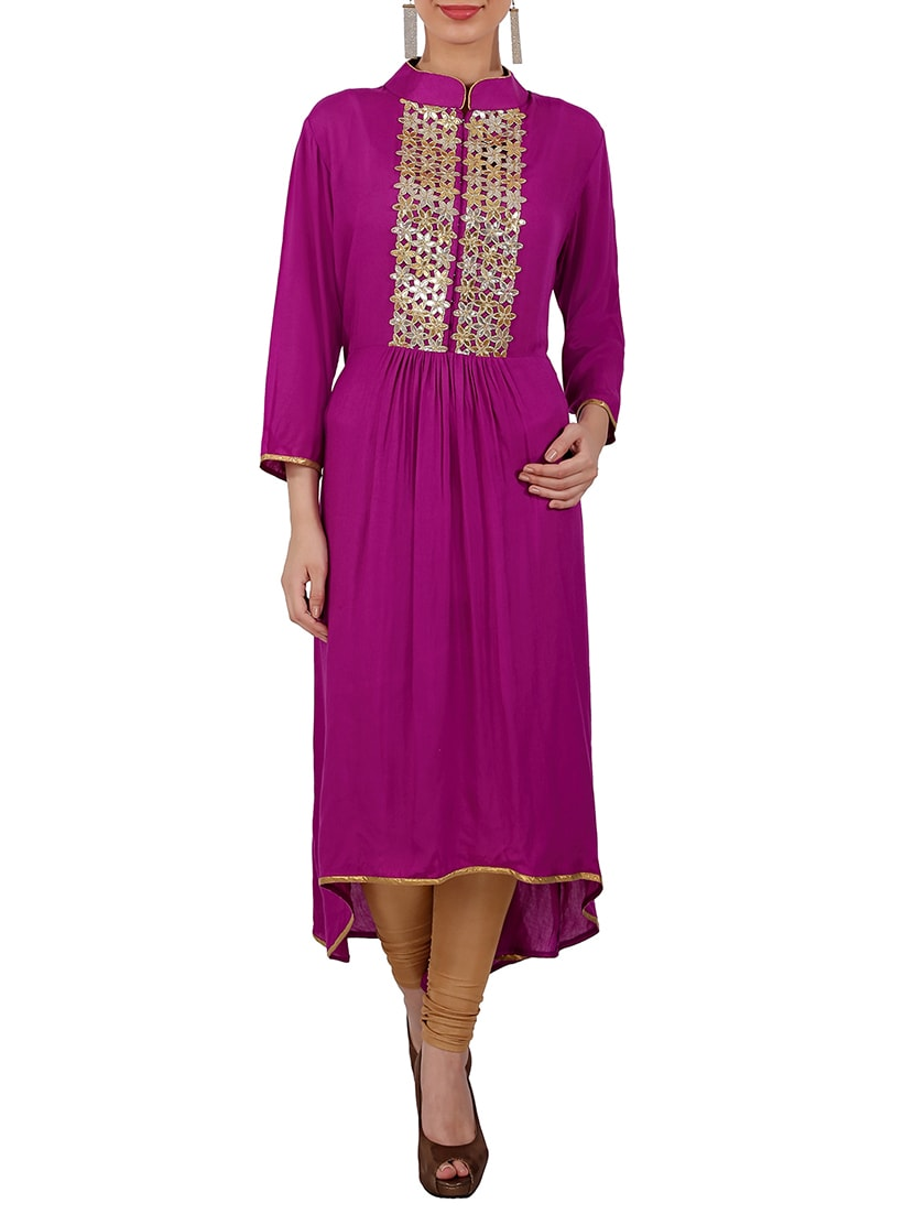 Purple Rayon Long  Kurta - By
