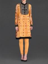 Yellow Printed Knee-Length Kurta And Churidar Set - Ritu Kumar