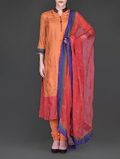 Embroidered Orange Silk Suit Set - Ritu Kumar