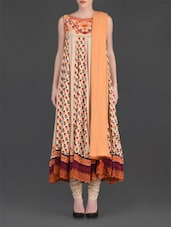 Beige Printed Flared Suit Set - Ritu Kumar