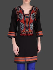 Black Embroidered Short Kurti - By