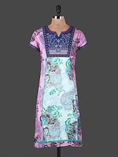 Embroidered Yoke Short Sleeves Printed Cotton Kurta - Rain And Rainbow