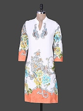 White Printed Paisley Cotton Kurta - Rain And Rainbow