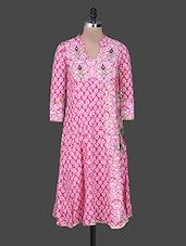 Pink Embroidered Printed Cotton Kurta - Rain And Rainbow