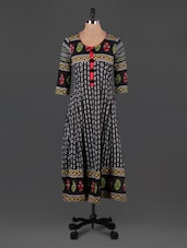 Block Printed Round Neck Long Kurta - Rain And Rainbow