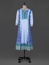Blue Print Paisley Mandarin Neck Cotton Kurta - Rain And Rainbow