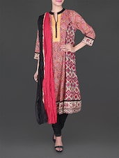 Red Sequin Work Printed Cotton Suit Set - Rain And Rainbow