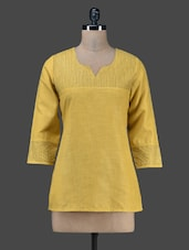 Yellow Plain Cotton Quarter Sleeves Kurta - Vedanta