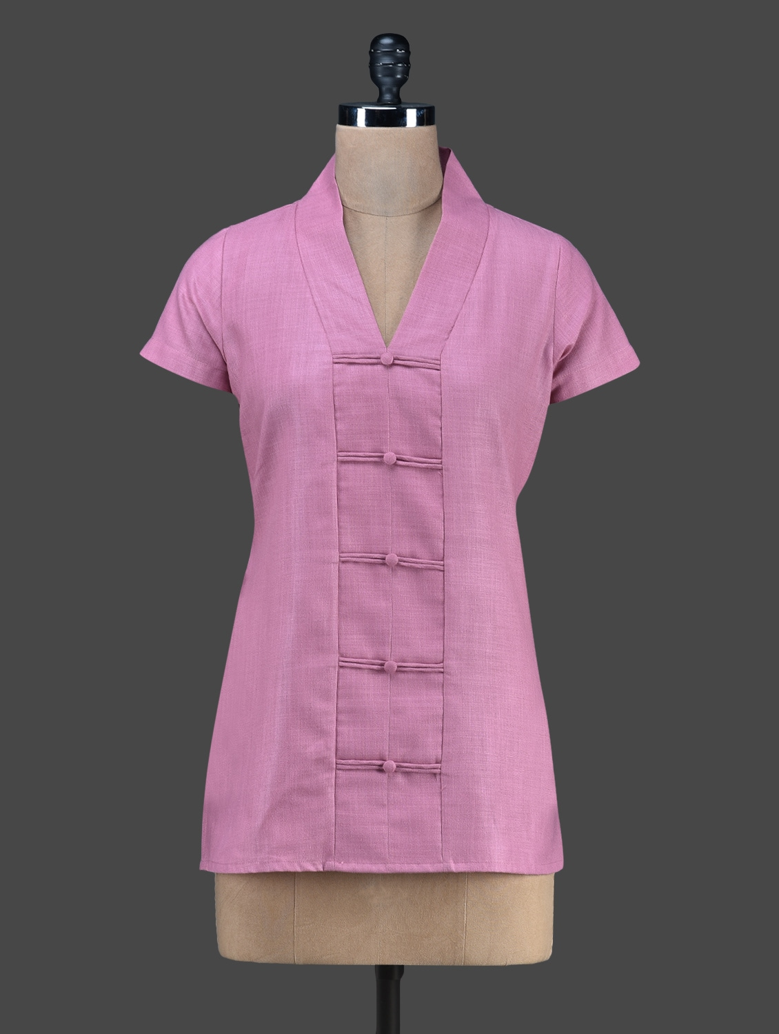 Pink Plain Short Sleeved Cotton Kurta - Vedanta