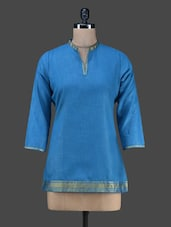 Blue Plain Short Cotton Kurta - Vedanta
