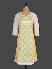 Quarter Sleeves Embroidered Yoke Printed Cotton Kurta - Indibelle
