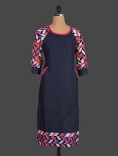 Round Neck Printed Sleeves Cotton Kurta - Indibelle