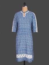 Lace Inset Printed Cotton Kurta - Indibelle