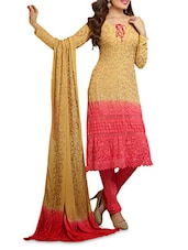 Beige And Pink Embroidered Georgette Suit Set - Fayda Bazaar