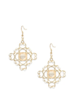 Intricate Gold Toned Earrings With Pink Stone - Toniq