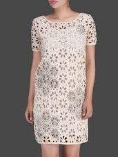 Floral Cutwork Off-White Shift Dress - LABEL Ritu Kumar