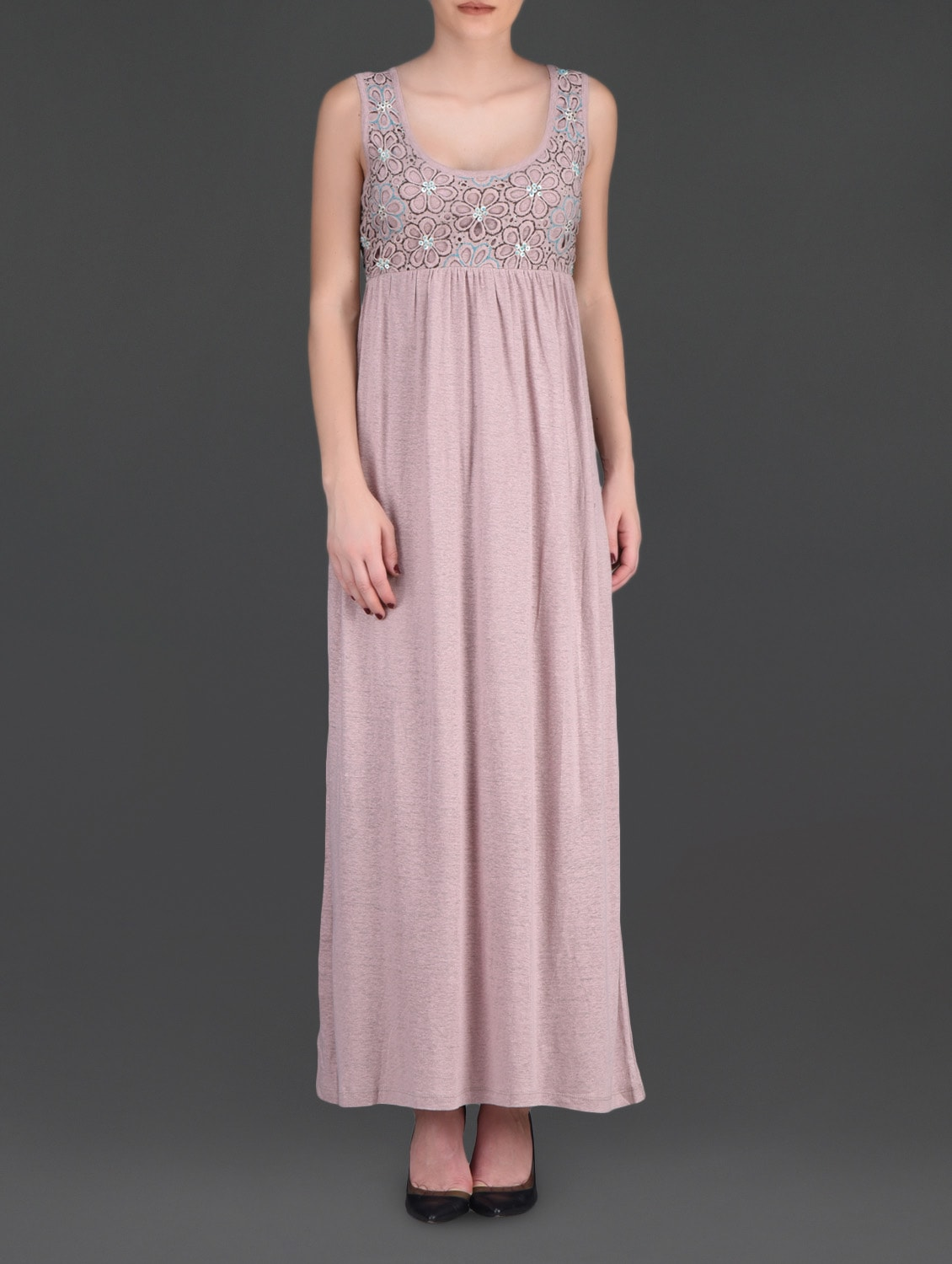 Dusty Pink Floral Cutwork Maxi Dress - LABEL Ritu Kumar