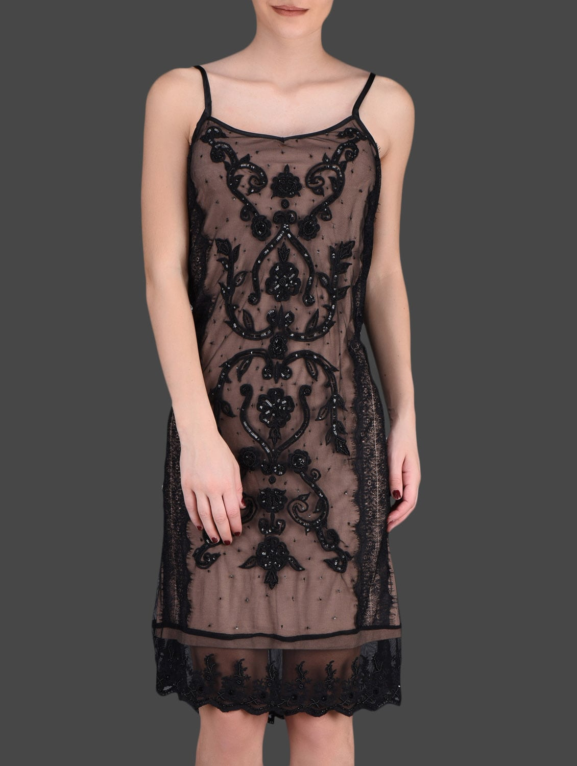 Embellished Black Lace Slip Dress - LABEL Ritu Kumar