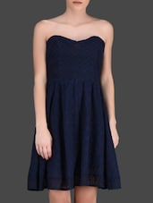 Navy Blue Lace Strapless Dress - LABEL Ritu Kumar