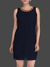 Navy Blue Lace Sleeveless Dress - LABEL Ritu Kumar