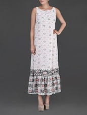 Printed White Sleeveless Maxi Dress - LABEL Ritu Kumar