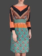 Printed Peach And Teal Full Sleeve Dress - LABEL Ritu Kumar