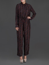 Floral Printed Black Full-Sleeve Jumpsuit - LABEL Ritu Kumar