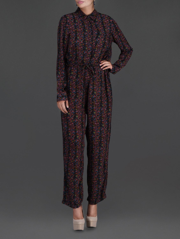 Floral Printed Black Full-Sleeve Jumpsuit - LABEL Ritu Kumar