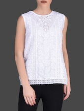 White Sleeveless Lace Top - LABEL Ritu Kumar