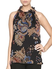 Black Printed Viscose Top - By