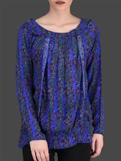Electric Blue Floral Print Top - LABEL Ritu Kumar
