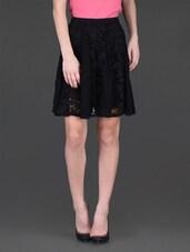 Black Lacy Viscose Short Skirt - LABEL Ritu Kumar