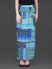 Printed Blue Viscose Long Skirt - LABEL Ritu Kumar