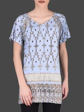 Light Blue Printed Viscose T-shirt - LABEL Ritu Kumar