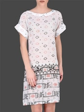 White Printed Polyester Tunic - LABEL Ritu Kumar