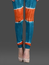 Blue & Orange Tie & Dye Cotton Leggings - RHAM GOLD