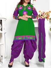 Green & Purple Embroidered Suit Set - Fabfirki