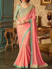 peach georgette bordered saree -  online shopping for Sarees
