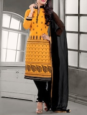 Yellow & Black Leaf Pattern Suit Set - Fabfirki