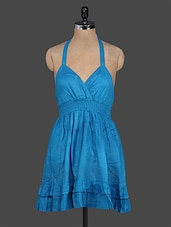 Blue Halter Neck Cotton Dress - I&E