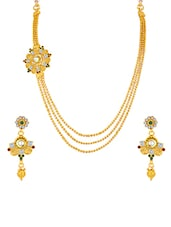 Gold Brass Necklaces And Earring - By - 11449140