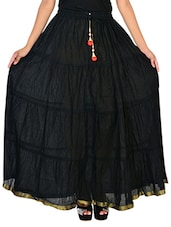 Home Shop Gift Black Cotton Lace Work Full Gair Long Skirt -  online shopping for Skirts