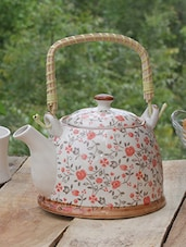 Floral Ceramic Kettle With Cane Handle - PYALLI