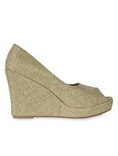 Textured Golden Peep Toe Wedges - Flat N Heels